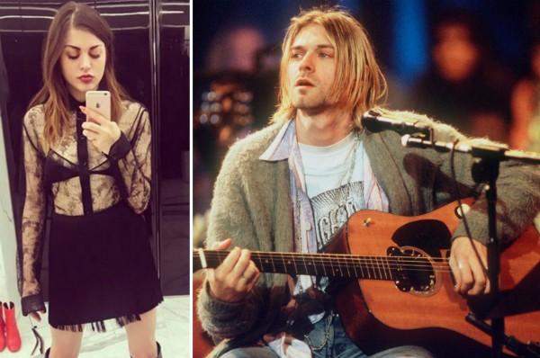 Frances Bean Cobain e seu pai com o violão que é disputado na justiça (Foto: Instagram/Reprodução)