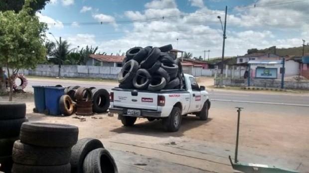 Pneus serão levados para a reciclagem em uma empresa de São Paulo (Foto: Divulgação/Semarh)