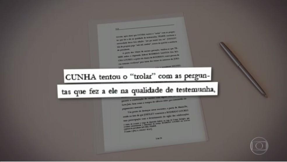 Temer relatou ao dono da JBS que Eduardo Cunha tentou 'fustigá-lo' nas perguntas que fez a ele por meio da Justiça (Foto: Reprodução / TV Globo)