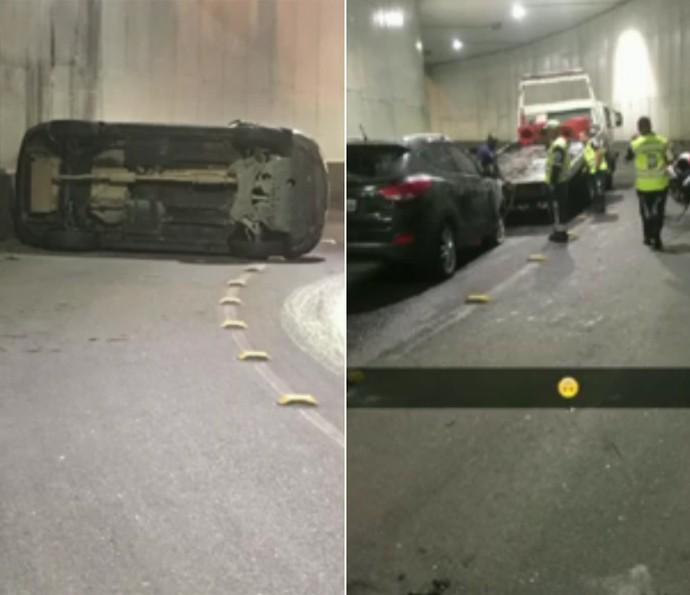 Mulher Melancia mostra estado do carro após acidente (Foto: Vídeo Show / TV Globo)