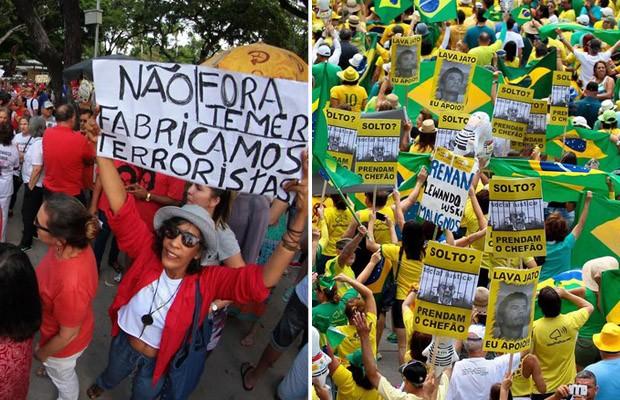 Recife teve protestos contra Dilma e contra Temer neste domingo (Foto: Marlon Costa/Futura Press/Estadão Conteúdo e Marlon Costa/Pernambuco Press)