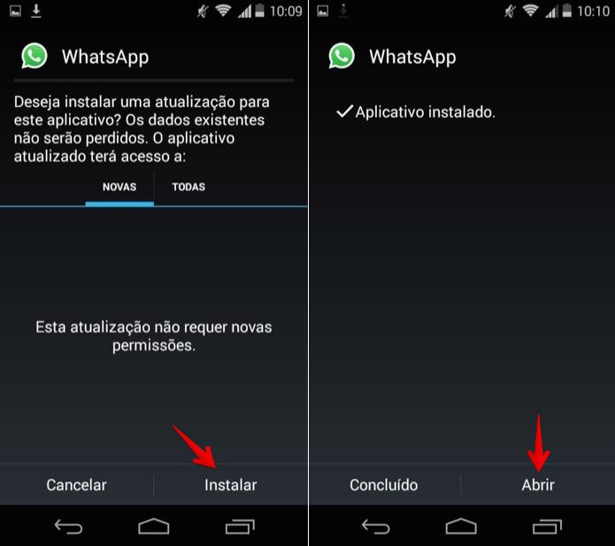 Forçando atualização do WhatsApp no Android (Foto: Reprodução/Helito Bijora)
