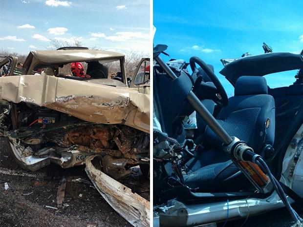 Caminhonete e carro de passeio ficaram destruídos após colisão (Foto: Jair Sampaio)