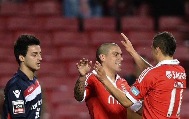 Maxi Pereira comemora gol do Benfica Sobre o Gil Vicente (Foto: AFP)