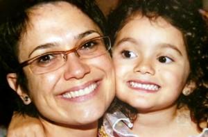 Sandra Annenberg com a filhinha Elisa (Foto: Domingão do Faustão / TV Globo)