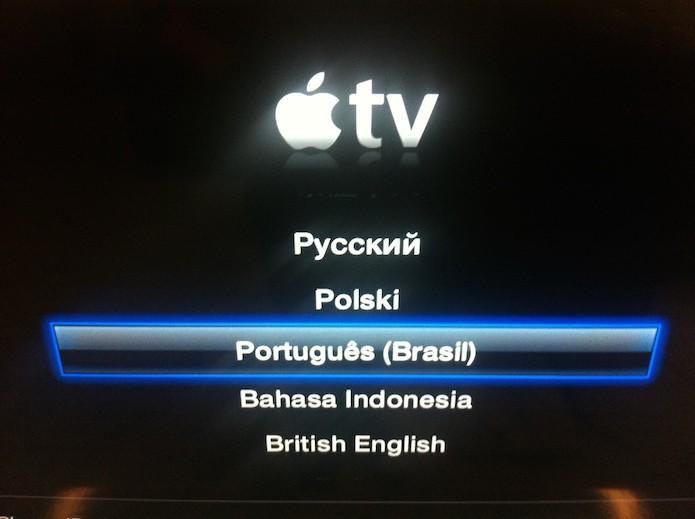 Tela de configuração inicial da Apple TV (Foto: Reprodução/Marvin Costa)