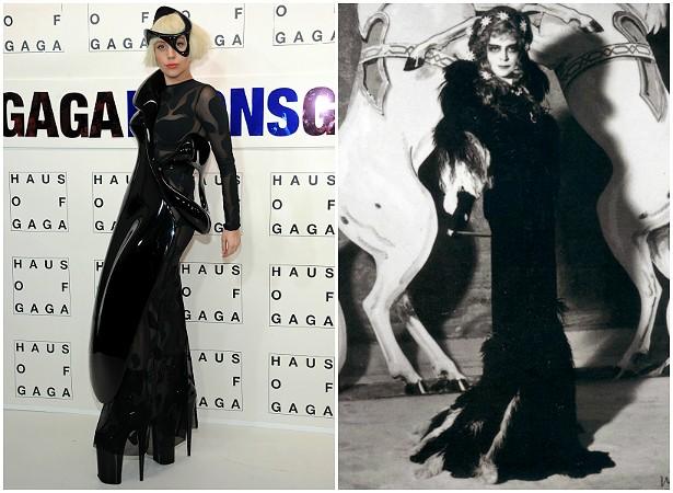 """OK, fisicamente Lady Gaga nem se parece tanto com a socialite e mecenas italiana Luisa Casati (1881-1957). No entanto, essas duas mulheres devem boa parte de sua fama ao hábito de se vestir excentricamente. Ambas influenciam e são influenciadas pela moda. Enquanto Gaga já disse que usa roupas """"malucas"""" porque, para ela, o mundo é um palco, a frase mais famosa de Casati foi: """"Quero ser uma obra de arte viva"""". Sob tantos tecidos e maquiagem, as duas estrelas acabam ficando bem semelhantes. (Foto: Getty Images)"""