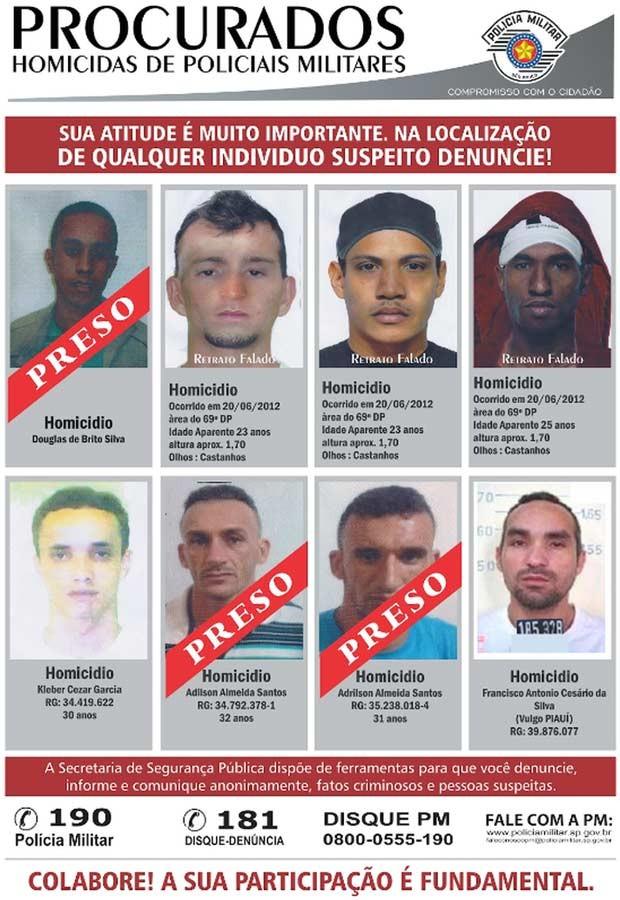 Polícia divulgou imagens de suspeitos nesta quinta-feira (Foto: Divulgação/ SSP)