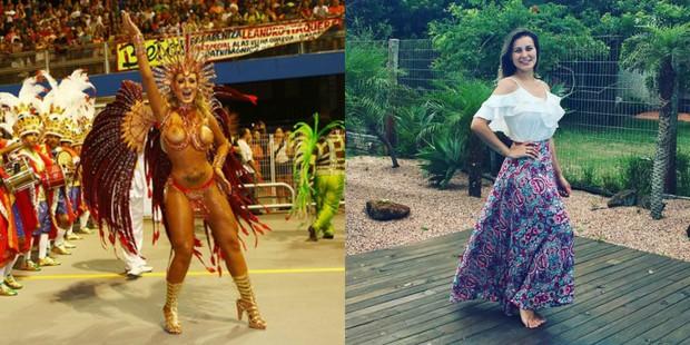 Andressa Urach no carnaval de 2014 em e hoje (Foto: Iwi Onodera / EGO | Reprodução/Instagram)