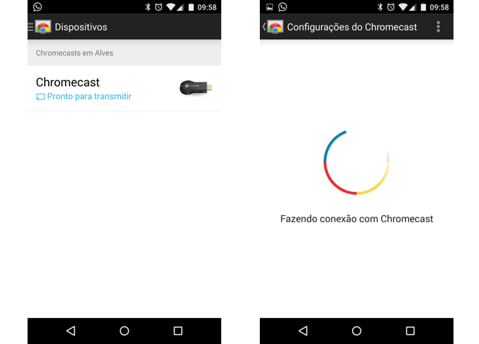 Selecione o Chromecast e aguarde alguns segundos para se conectar a ele (Foto: Reprodução/Paulo Alves)