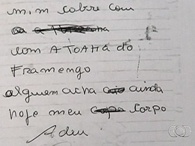 Bilhete com teor aparentemente suicida teria sido assinado por Joaquim, padrasto de Loanne, em Pirenópolis, Goiás (Foto: Reprodução/TV Anhanguera)