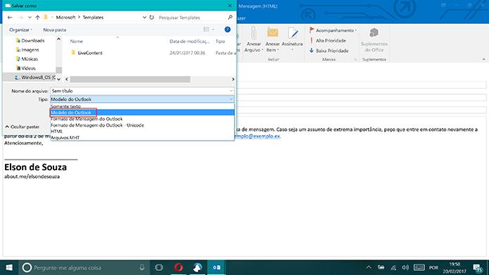 Selecione salvar e-mail como modelo do Outlook (Foto: Reprodução/Elson de Souza)