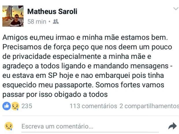 Matheus Saroli disse, em postagem no Facebook, que não embarcou porque esqueceu o passaporte (Foto: Reprodução/Facebook)