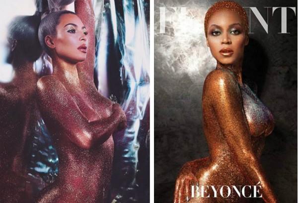 Uma foto do ensaio de Kim Kardashian e a capa da revista Faunt de 2013 com Beyoncé (Foto: Instagram/Divulgação)