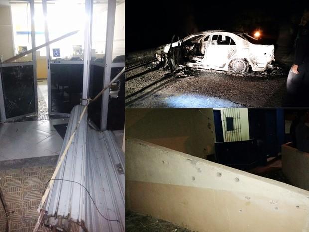 Criminosos arrombaram a agência, incendiaram um carro e ainda atiraram contra a base da PM na cidade  (Foto: PM/Divulgação)