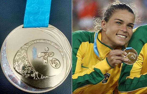 A medalha de ouro de Tamires Britto foi devolvida com uma ranhura na parte central (Foto: Arquivo pessoal/Tom Szczerbowski-USA TODAY Sports/Reuters)
