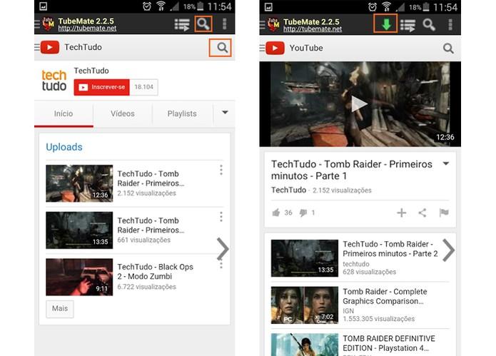 App Tubemate permite baixar vídeos do YouTube para o celular e ainda fazer buscas na interface (Foto: Reprodução/Barbara Mannara)