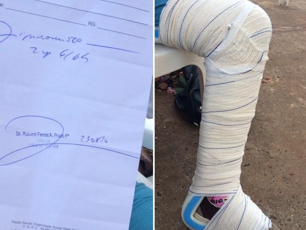 Idosa passou por vários atendimentos médicos até ser enfaixada dessa forma  (Foto: Diego Santos/ Bariri Rádio Clube )