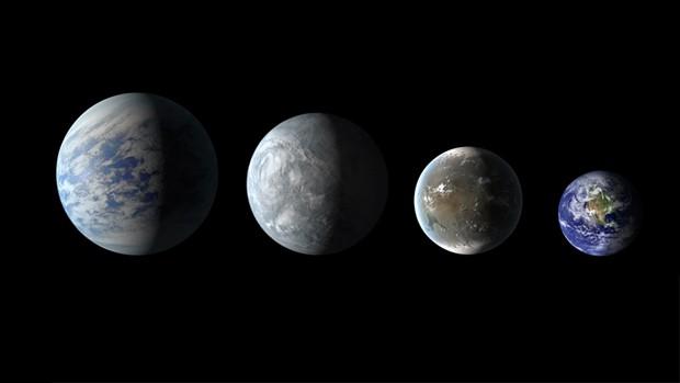 Concepção artística mostra três dos novos planetas descobertos em zonas habitáveis, em escala comparativa com a Terra (direita) (Foto: Science@NASA/NASA's Goddard Space Flight Center)
