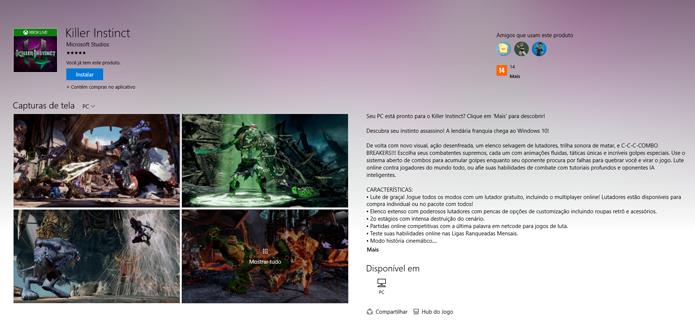 Página de Killer Instinct na Windows Store (Foto: Reprodução/André Mello)