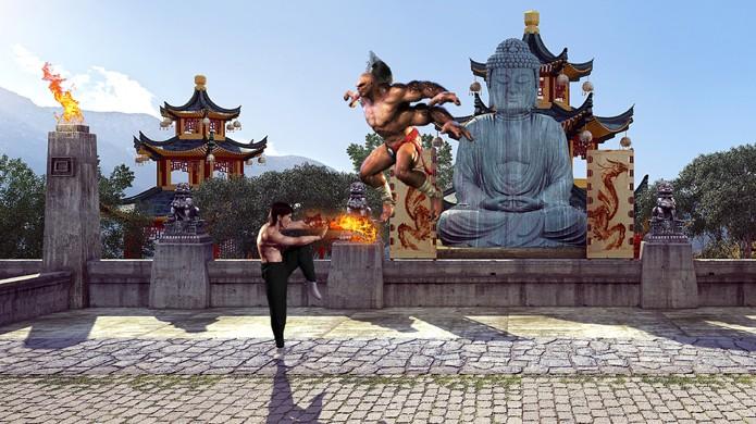 Liu Kang e Goro se enfrentam no clássico cenário Palaca Gate em alta definição (Foto: Reprodução/DSO Gaming)