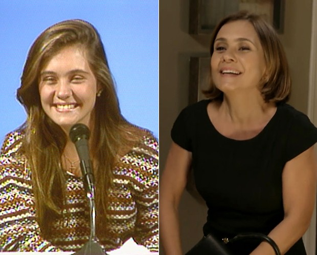 Adriana Esteves no início da década de 90 no Jogo da Velha e atualmente, em Babilônia (Foto: TV Globo)