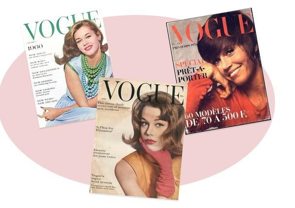 Jane Fonda nas capas da Vogue (Foto: Reprodução)