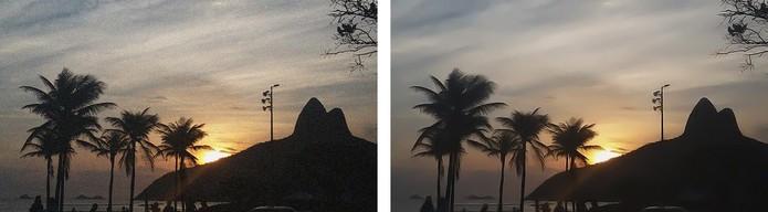 Confira o resultado da foto com a granulação (à esquerda) e sem com ruídos amenizados (à direita) (Foto: Reprodução/Barbara Mannara)