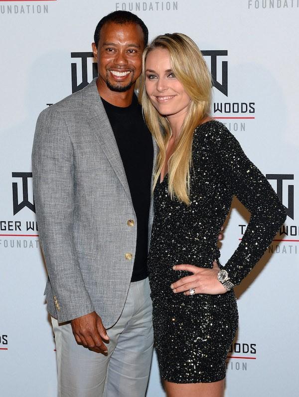 O jogador de golfe Tiger Woods e a ex-namorada, Lindsay Vonn (Foto: Getty Images)