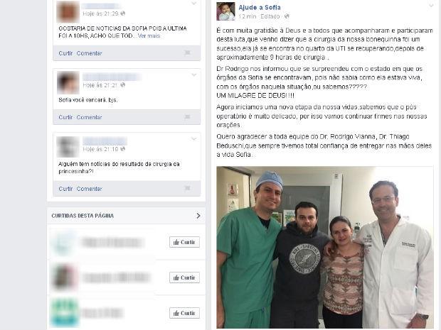 Cirurgia da Sofia, bebê de Votorantim (Foto: Reprodução/Facebook)
