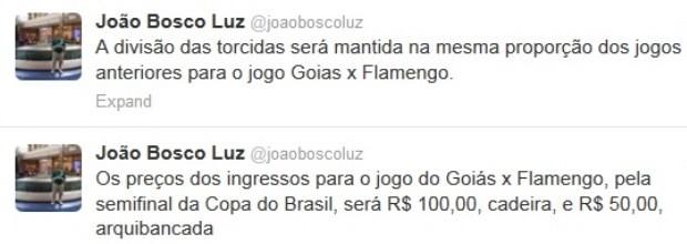 Presidente do Goiás define preço dos ingressos para primeiro jogo da semifinal da Copa do Brasil (Foto: Reprodução)