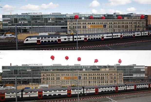 O edifício da estação Zurique Oerlikon tem 123 anos, mede cerca de 80 metros de comprimento e pesa 6.200 toneladas. Nesta terça-feira, ele chegou à metade do trajeto programado para a mudança, andando 60 metros ao longo dos trilhos. (Foto: Michael Buholzer/Reuters)