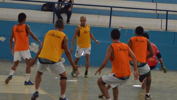 Lagarto faz último treino antes da decisão da Copa TV Sergipe de Futsal (Foto: João Áquila/GLOBOESPORTE.COM)