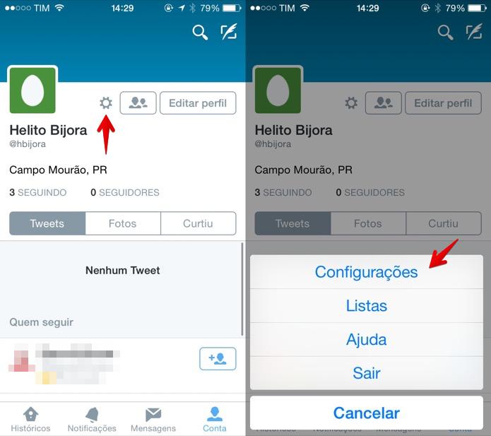 Acesse as configurações do aplicativo do Twitter (Foto: Reprodução/Helito Bijora)