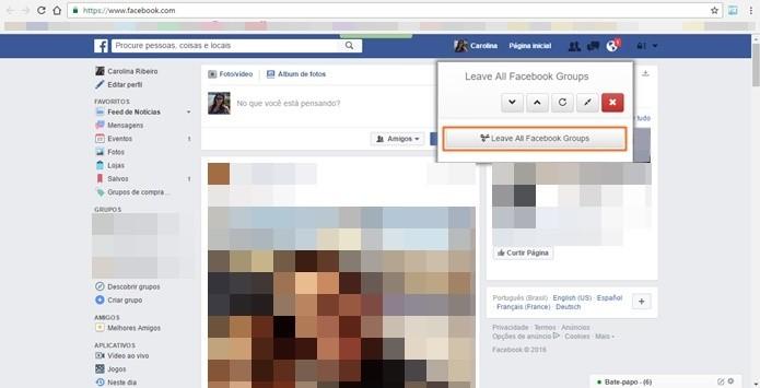 Plugin direciona para perfil do Facebook e mostra opção de sair de vários grupos ao mesmo tempo