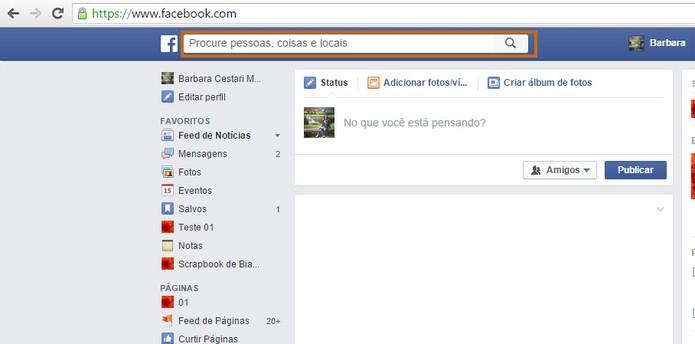 Busque pode seu amigo do Facebook e acesse o perfil (Foto: Reprodução/Barbara Mannara)