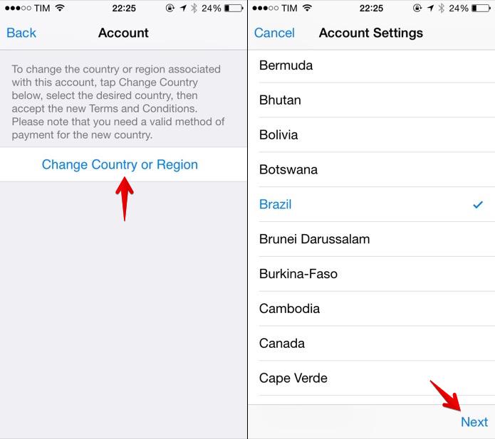 Alterando o endereço da App Store (Foto: Reprodução/Helito Bijora)