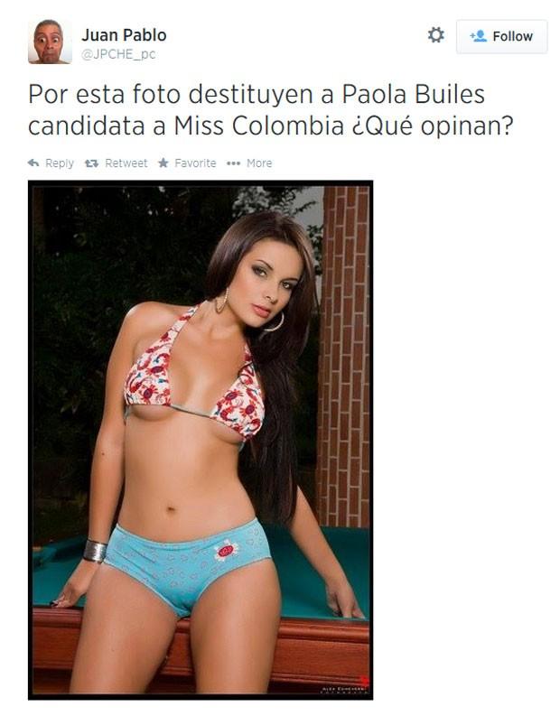 Paola Builes Aristizábal teve cassado o título de Miss Antioquia por causa de foto em biquíni pequeno (Foto: Reprodução/Twitter/Juan Pablo)