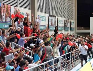 Torcida do Monte Cristo faz a festa em Goiânia (Foto: Divulgação/CBV)