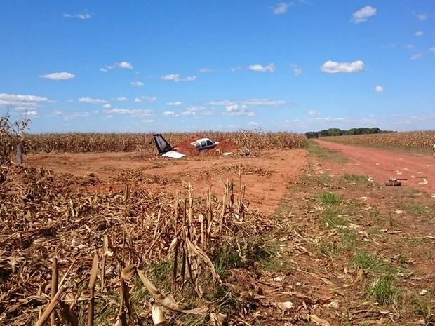 Aeronave com cinco pessoas pousou na pista de fazenda e pegou fogo após bater em cerca (Foto: Arquivo pessoal)
