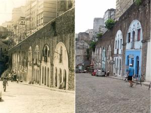 Arcos da Ladeira da Conceição que sustentam a Ladeira da Montanha. A primeira foto é na década de 40 e a segunda já em 2015. (Foto: Montagem/ G1)