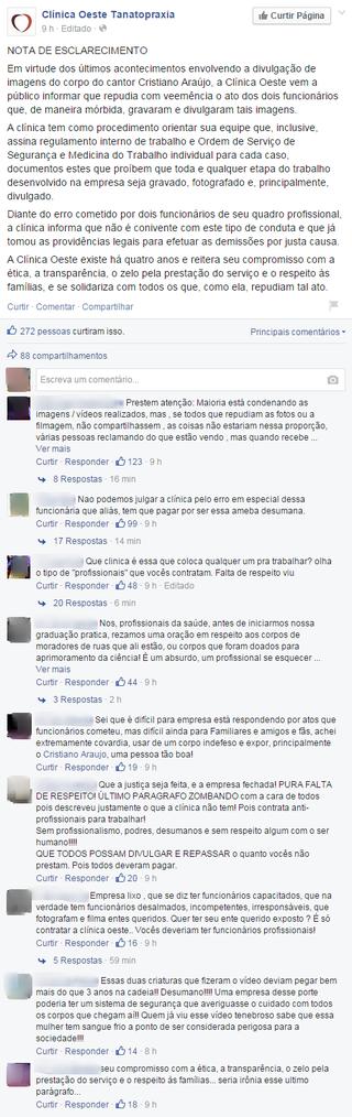 Comentários Funerária (Foto: Reprodução/ Facebook)