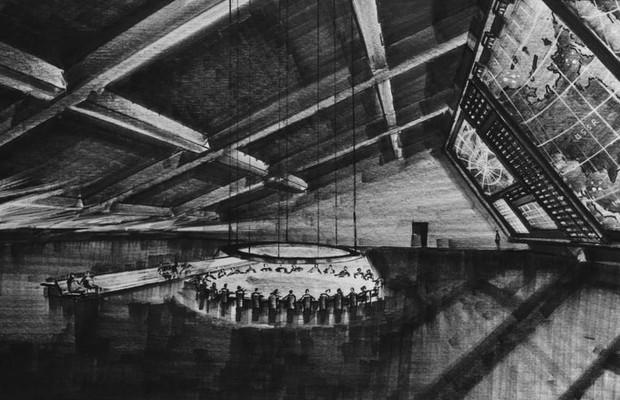 """Projeto de produção de Sir Kenneth Adam para a sala de guerra do filme """"Dr. Fantástico"""", de Stanley Kubrick, que pode ser visto na exposição do MIS (Foto: Sony Columbia Pictures / Divulgação)"""