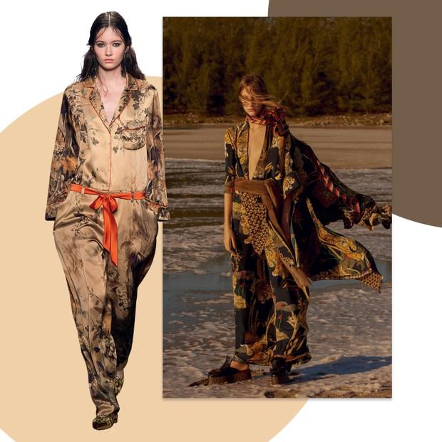 À esquerda Alberta Ferretti / Inverno 2016/17 e, ao lado, quimono e calça Lenny Niemeyer usados com lenço Gucci em editorial da Vogue de outubro (Foto: Cassia Tabatini, Gil Inoue/arquivo Vogue, Zee Nunes/Arquivo Vogue e Imaxtree)