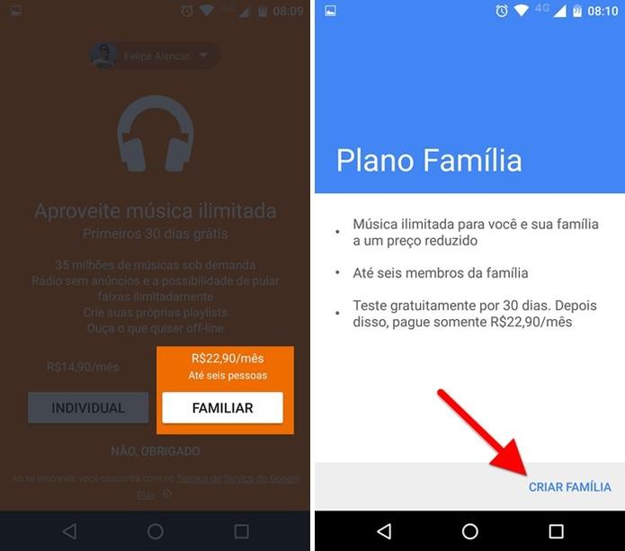 Criando uma família no Google Play Música (Foto: Felipe Alencar/TechTudo)