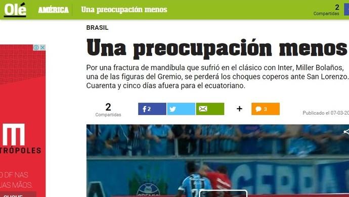 """Olé fala em """"preocupação"""" a menos para o San Lorenzo (Foto: Reprodução)"""