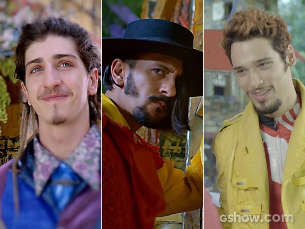Ferdinando, Zelão e Renato estão caidinhos por Juliana (Foto: Meu Pedacinho de Chão/TV Globo)