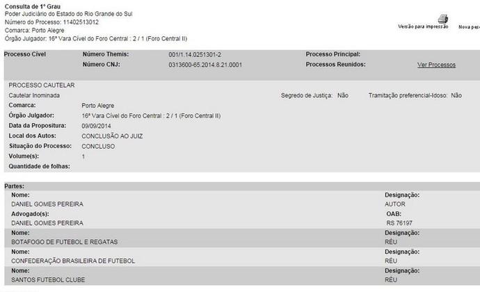 Torcedor entra na justiça comum para recolocar Grêmio na Copa do Brasil (Foto: Reprodução)
