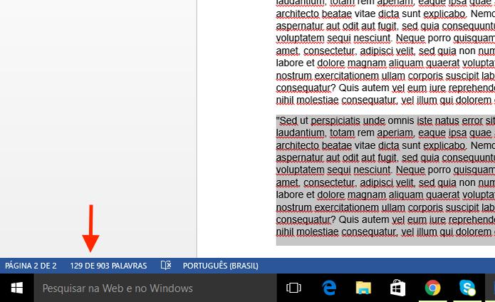 Visualizando a quantidade de palavras de um trecho de texto no Microsoft Word (Foto: Reprodução/Marvin Costa)