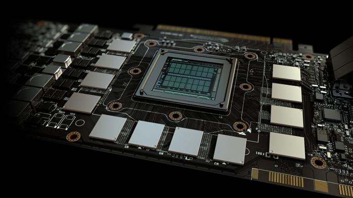 Imagem mostra uma GPU cercada por módulos de memória GDDR5 (Foto: Divulgação/Nvidia)